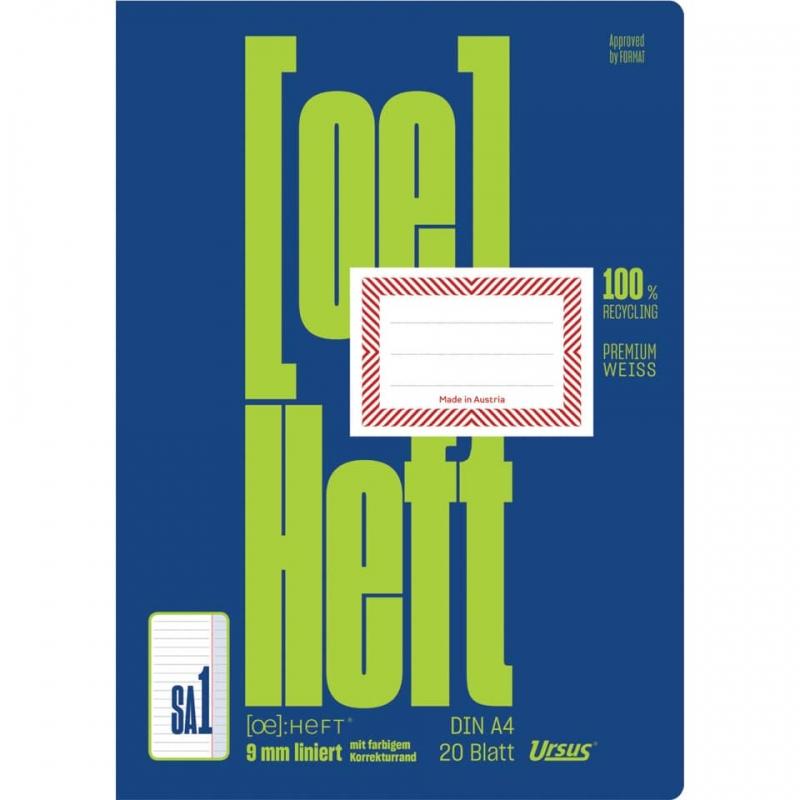 Schularbeitsheft A4 20 Blatt