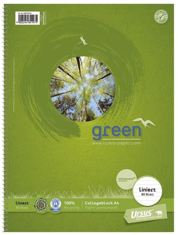 Ursus Collegeblöcke green A4