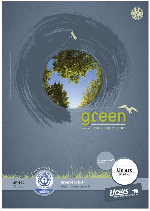 Briefblock Ursus Green A4, 50 Blatt Pure Impact