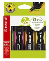 Textmarker Stabilo Boss Green Etui 4 Stück 2-5mm